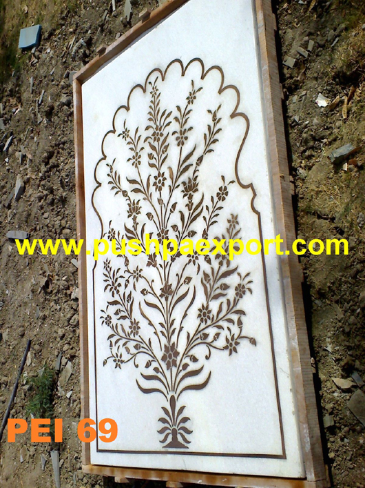 White Marble Inlay Top
