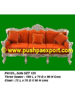 Silver Sofa Set (Set of 3Piece) (Set of One Piece 3Seater and Two Single Chairs)