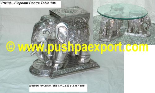 Silver Elephant Centre Table (Set of 3 Piece)
