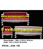 Silver Sofa Set (Set of One pc 3 Seater & Two Single Chairs )(SET OF 3 PCS)