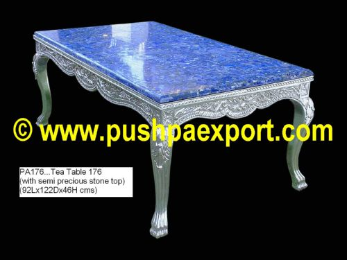 Silver Tea Table (with semi precious stone table top)