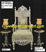 "Silver Maharaja Chair (52""H-Set of 1 Chair+2 Side Stools)"