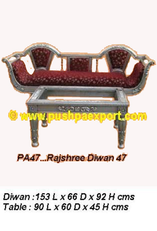 Silver Rajshree Diwan & Centre Table