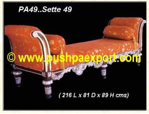 Silver Settee (Half silver Half Polished)