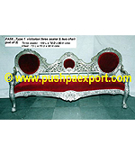 Silver Type 1 Victorian (Set of 3 pc) (Set of one pc 3 Seater & Two Single Chairs)