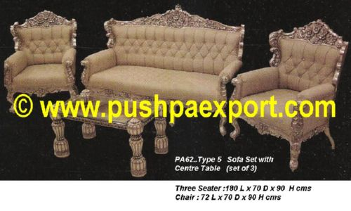 Silver Type 5 Sofa Set With Centre Table (Set of 3pc) (Set of One pc 3 Seater & Two Single Chairs)