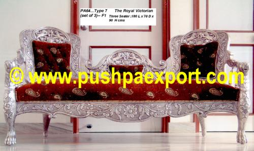 Silver Type 7 The Royal Victorian (Set of 3pc) (Set of One pc 3 Seater & Two Single Chairs)