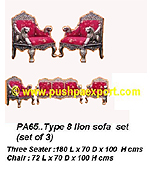 Silver Type 8 Lion Sofa Set (Set of 3pc) (Set of One pc 3 Seater & Two Single Chairs)