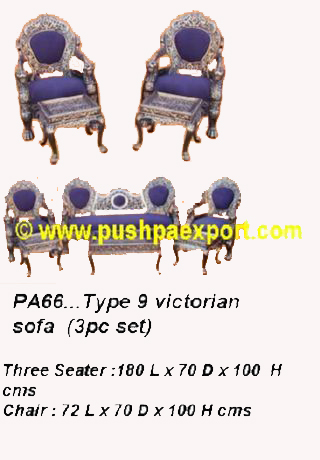 Silver Type 9 Victorian Sofa (Set of 3pc) (Set of One pc 3 Seater & Two Single Chairs & One Center T