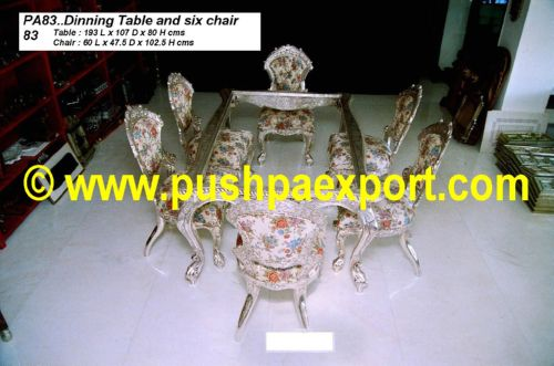 Silver Dinning Table (6pc Chair Set)