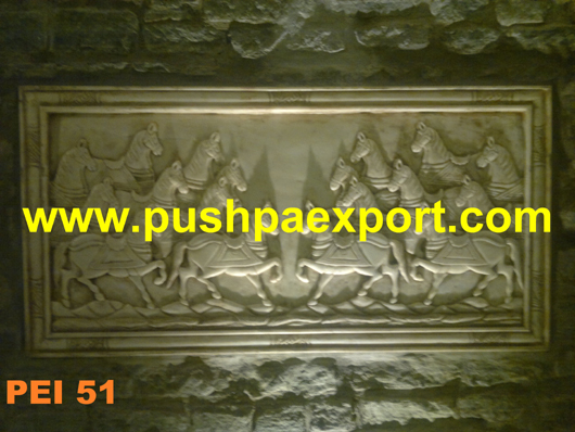 Horse Marble Carved Panel