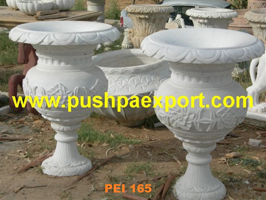 White Marble Carved Planter